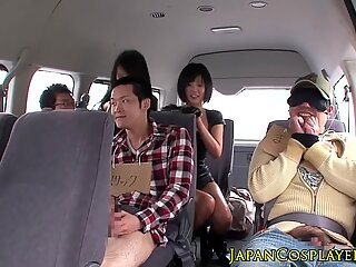 Busty japanese leather las cockrides in group