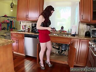 Mom fucks compeer  ally s daughters girlboss in kitchen The Plumber gets His Pipe Cleaned - Ally Brooks