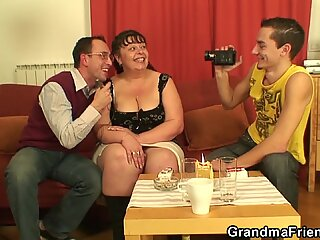 two dudes film porn scenes with old big boobs sexy woman