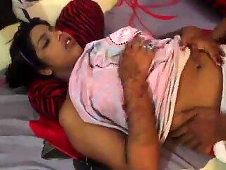 Indian bgrade babe gets her boobs and ass massaged.