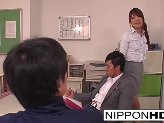 Japanese babe has a threesome in the teacher's lounge