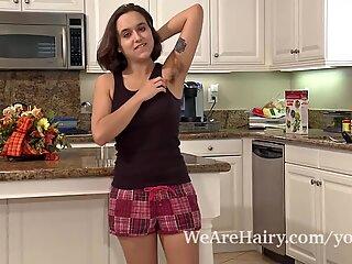 Hairy porn in Viola Starr's kitchen