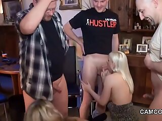 German mom and not step daughter in amateur gangbang 4 men