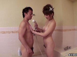Japanese big tits Yui Takashiro sucks cock,uncensored