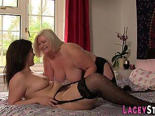 Horny granny toying lesbian