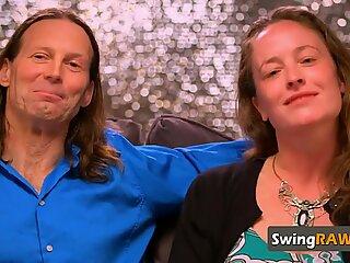 Mature swinger couple fucking sensually in private