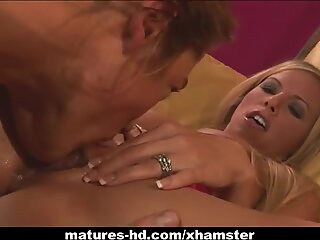 Mature blonde MILF sucks then fucks