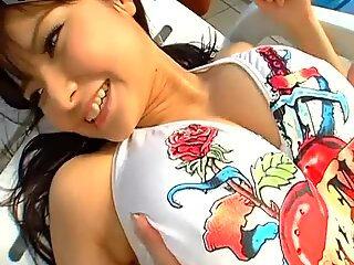 Bosomy Japanese beauty Miri Hanai wears white swimming suit