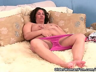 Granny with milk leaking nip plumbs a fuck stick