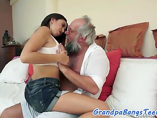 Teenage babe fucked and jizzed on by oldman