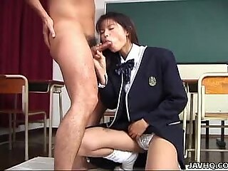 Skinny schoolgirl slut Risa Niiyama wild blowjob action!