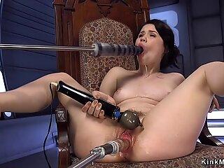 Asian babe in high heels fucks machines