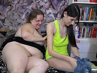 OldNannY Horny Lesbian Strapon Hardcore Toysex