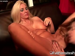 Chubby Brunette With A Mature Blonde