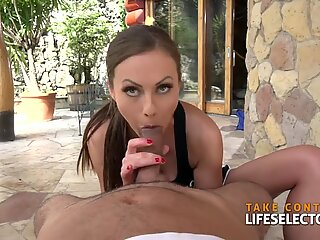 awesome brunette ballerina Tina Kay is plowing point of view
