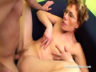 Slim Granny Gets Old Pussy Fucks Young Cock