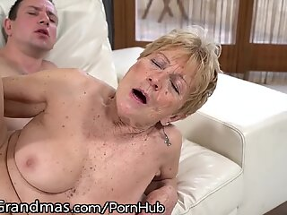 LustyGrandmas fur covered curvy Mature Gets youthfull Meat Injection