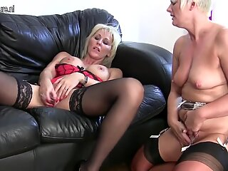 Mature lesbian couple in hot action