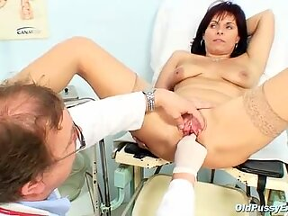 Mature Livie pussy examination by horny kinky gyno doctor