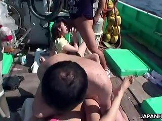 Gang bang on their Japanese trawler