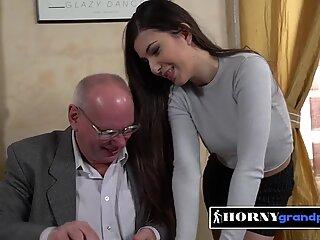 Naughty teachers pet gets her titties sucked by horny senior